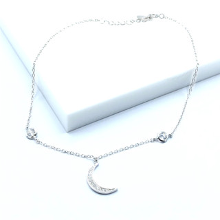 Silver Dangle Cubic Zirconia Moon Anklet - 102296