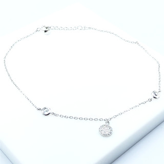 Silver Pave Disc Anklet -102298