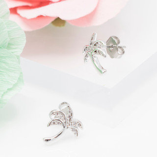Bent Trunk Palm Tree Earring - 800017