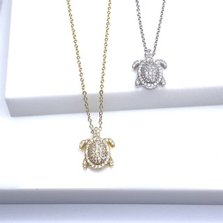 All Over Pave Turtle Necklace