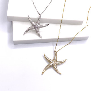 Pave Large Puffy Starfish Necklace