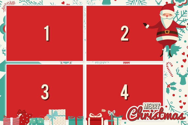 Merry Christmas 4x6 Print Template 4 Images Darkroom Templates