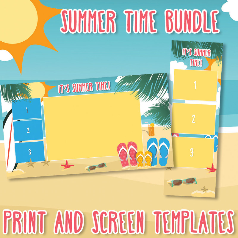 Bundle - Summer Time 2x6 Print Template and Matching Screen Template