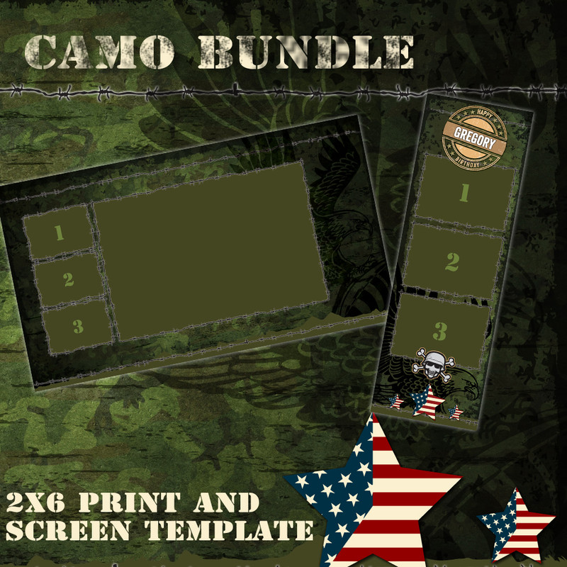 Camo Bundle - 2x6 Print Template and Screen Template