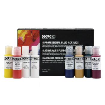 Golden Fluid Acrylic Set, 8 Colors