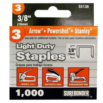 """Light Duty Staples, 3/8"""""""