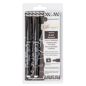 Callicreative White Marker Set contains two 2.5mm tip white markers.