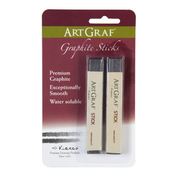 These Watercolor Graphite Sticks contain blended graphite and binders allowing the sticks to be used dry or wet. The water-soluble qualities allow for washes and fine detail. 2 soft water-soluble graphite sticks per package.