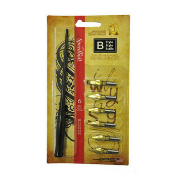 Speedball B-Style Lettering Set comes with: instruction sheet, 1 standard pen holder, 6 nibs- B0, B1, B2, B4, & B5