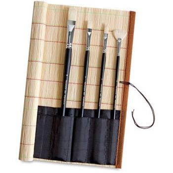 Bamboo Mat with Brush Holder