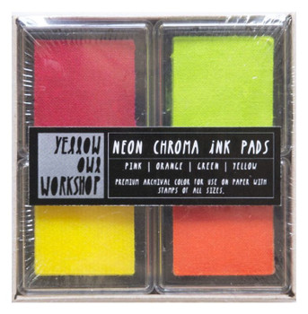 Chroma Ink Pads - Neon Pink, Orange, Green and Yellow