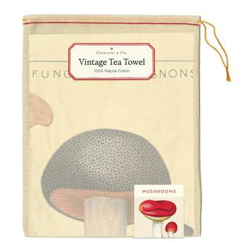 Vintage Tea Towel, Mushrooms