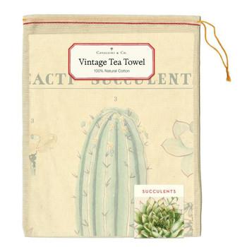 Vintage Tea Towel, Succulents