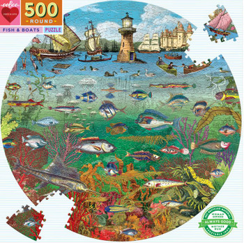 Fish & Boats Round Puzzle, 500 Pieces