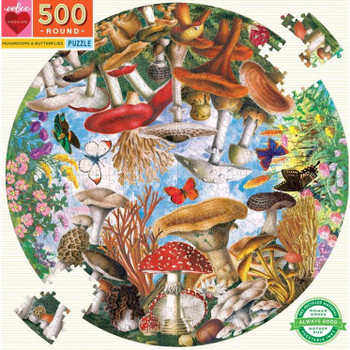 Mushrooms and Butterflies Round Puzzle, 500 pieces