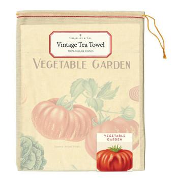 Vintage Tea Towel, Vegetable Garden