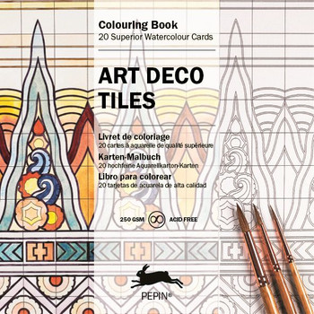 Watercolor Coloring Cards, Art Deco Tiles