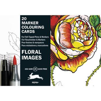 Marker Coloring Cards, Floral