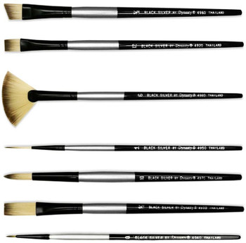Black Silver Brushes, Short Handle