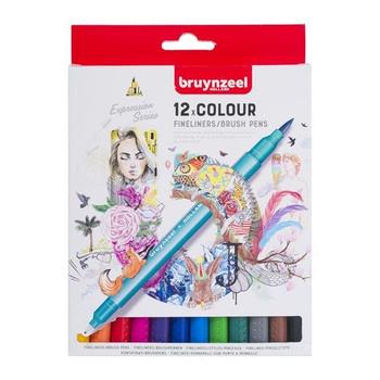 Bruynzeel Fineliners/Brush Pen Set of 12