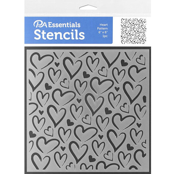 """Hearts Stencil, 6"""" x 6"""""""