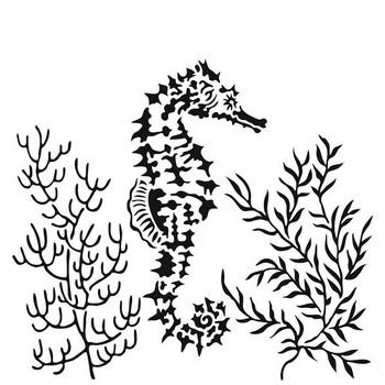 "Seahorse Stencil, 6"" x 6"""
