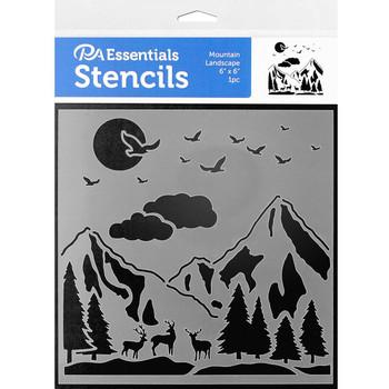 "Mountain Landscape Stencil, 6"" x 6"""