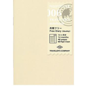 Traveler's Notebook, Passport Free Diary Monthly Refill