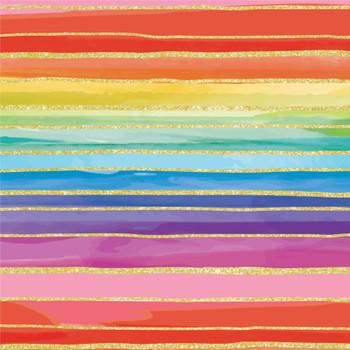 Gift Wrap Roll, Rainbow Gold Stripes