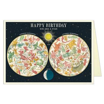 Cavallini Greeting Card, Birthday Constellation