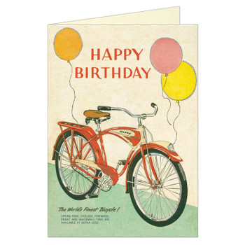 Cavallini Greeting Card, Birthday Bike