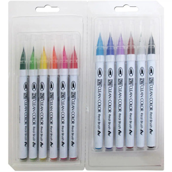 Zig Clean Color Real Brush Markers, Set of 12