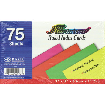 Fluorescent Index Cards, Ruled