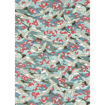 Chiyogami Paper, Cranes with Cherry Blossoms