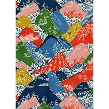 Katazome-Shi Paper, Multi Colored Hillside