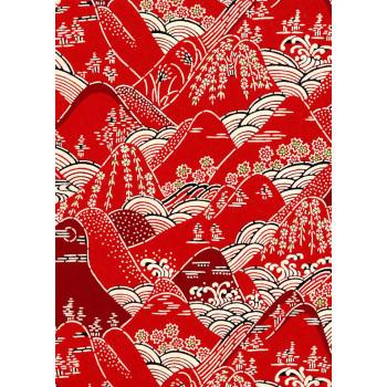 Katazome-Shi Paper, Red Hillside