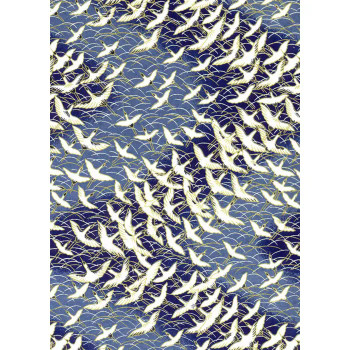 Chiyogami Cranes, White on Blue
