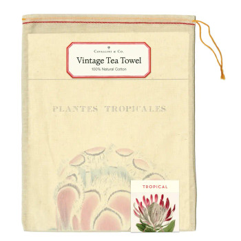 Vintage Tea Towel, Tropical Plants
