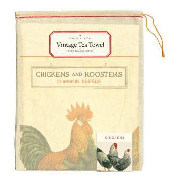 Vintage Tea Towels, Chickens & Roosters