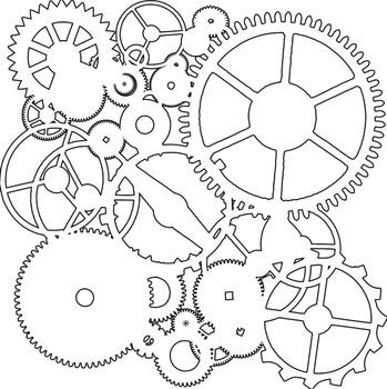 """Gears Stencil, 6"""" x 6"""""""