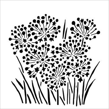 """Green Onion Blossoms Stencil, 6"""" x 6"""""""