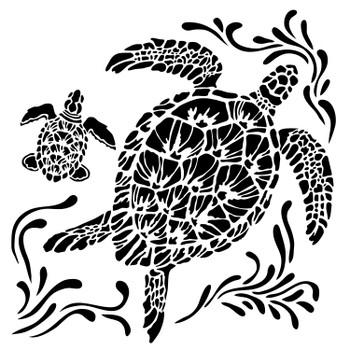 """Sea Turtle Stencil, 6"""" x 6"""""""