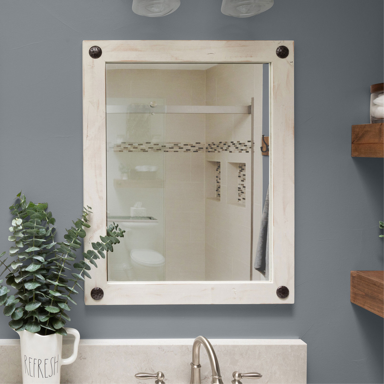 Farmhouse Bathroom Vanity Mirror With Clavos 24x31 Whitewash Drakestone Designs