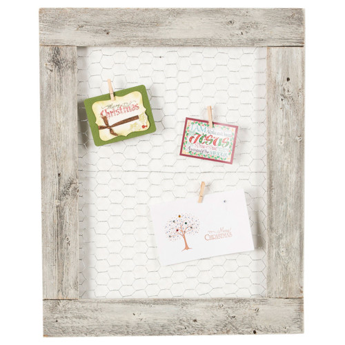 Barnwood Chicken Wire Photo Display - Whitewash