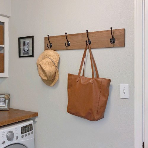 Coat and Towel Rack with 4 Double Hooks - Walnut Stain