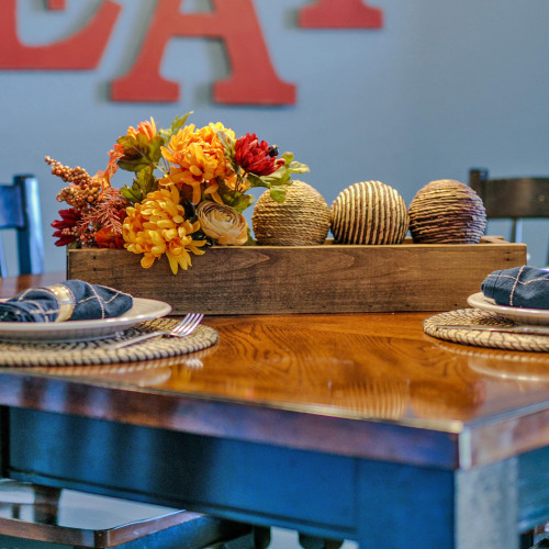 Wood Tray Centerpiece Box - Walnut Finish