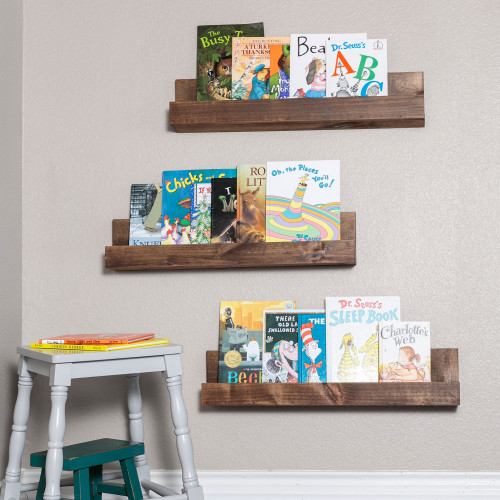 Floating Nursery Bookshelves (Set of 3) - Walnut Finish