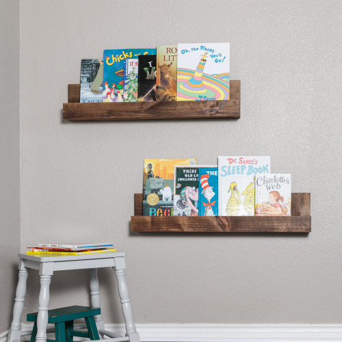 Floating Nursery Bookshelves (Set of 2) - Walnut Finish