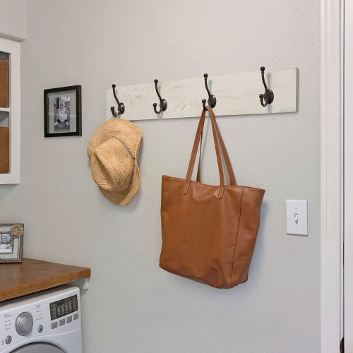 Coat and Towel Rack with 4 Double Hooks - Whitewash
