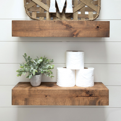 Farmhouse Floating Shelf, 24 inch - Walnut Finish (Set of 2)